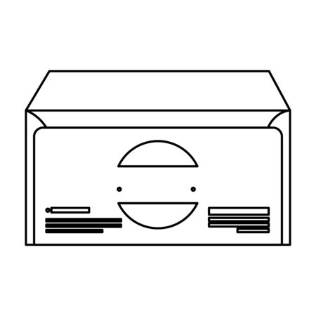 envelope mail social with company emblem vector illustration design