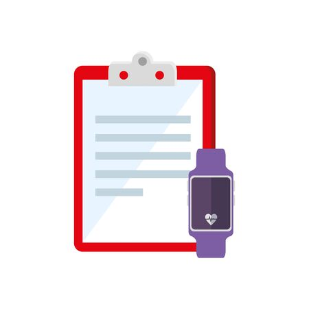 smartwatch and clipboard with paper document vector illustration design