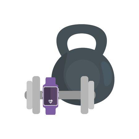 smartwatch sport with set of dumbbell equipment vector illustration design Çizim