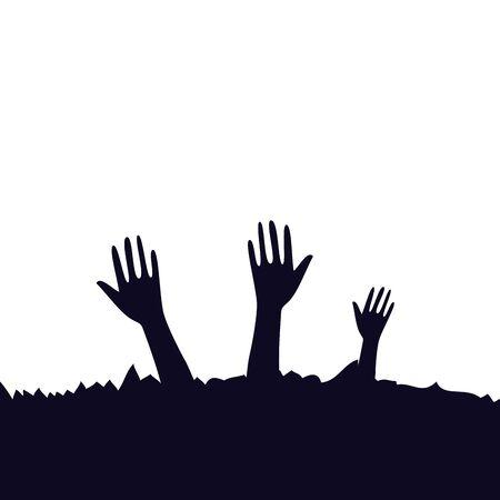 hands of zombie for halloween vector illustration design 向量圖像