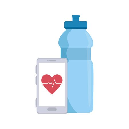 bottle water and smartphone with heart rate vector illustration design Banco de Imagens - 139306689