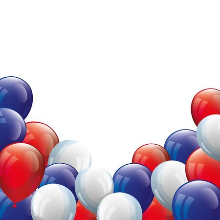 balloons helium white with red and blue vector illustration design  イラスト・ベクター素材