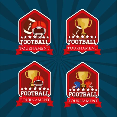 set emblems with american football icons vector illustration design 일러스트
