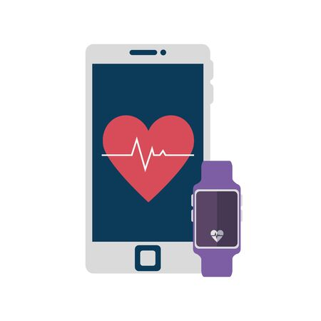 smartwatch sport with smartphone isolated icon vector illustration design