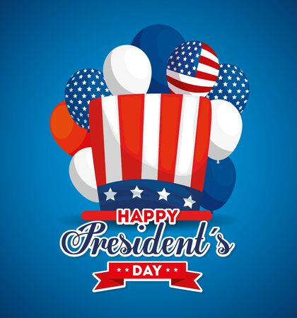 Hat and balloons design, Usa happy presidents day united states america independence nation us country and national theme Vector illustration 向量圖像