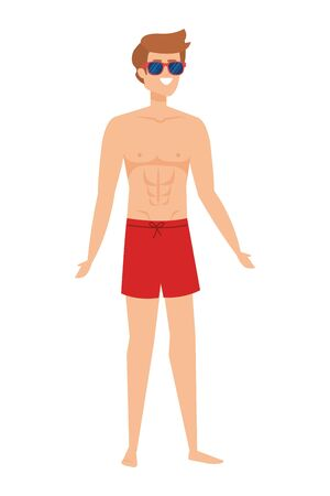 young man with swimsuit avatar character vector illustration design Reklamní fotografie - 139353544