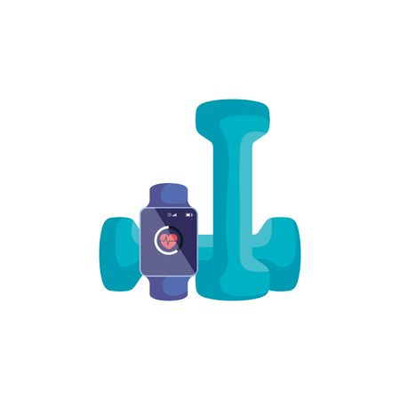 smartwatch sport with dumbbell isolated icon vector illustration design