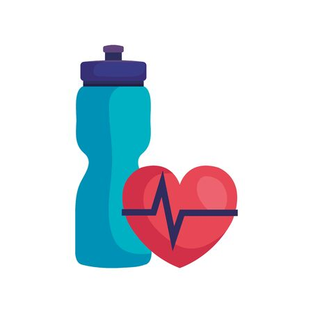 bottle water plastic with heart rate pulse isolated icon vector illustration design