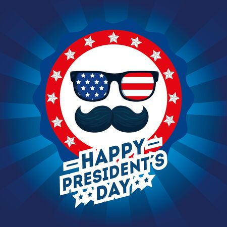 Flag glasses and mustache design, Usa happy presidents day united states america independence nation us country and national theme Vector illustration