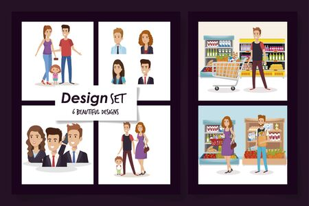 six designs of business people and purchaser with family vector illustration design
