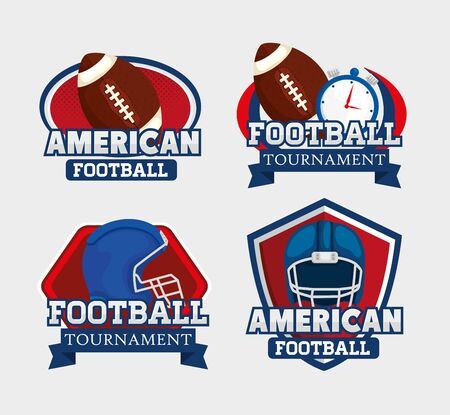 set of stamps with icons american football vector illustration design