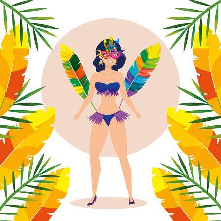 exotic dancer brazil woman with decoration vector illustration design