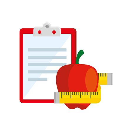 fresh apple and clipboard with paper document vector illustration design
