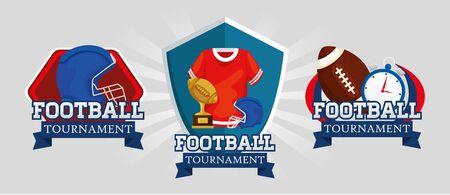 set of emblems american football vector illustration design