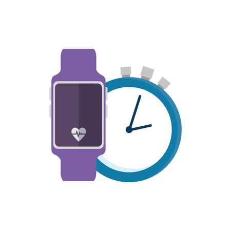 smartwatch sport with set icons vector illustration design