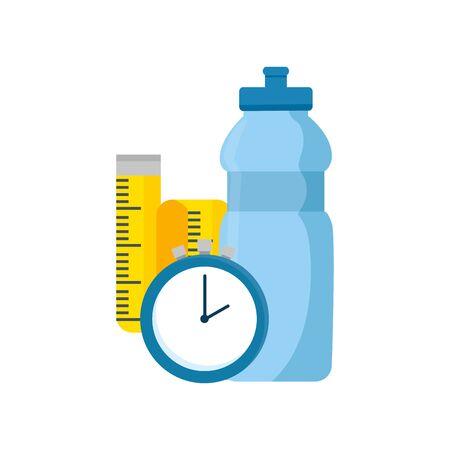 bottle water with chronometer time and tape measure vector illustration design Ilustração