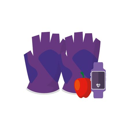 smartwatch sport with fingerless glove and apple vector illustration design