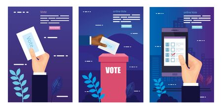 set poster of vote with icons vector illustration design Vector Illustration