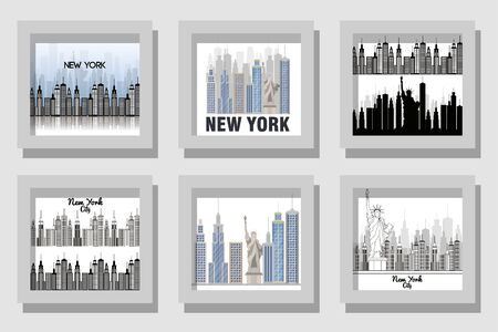 New york buildings set design, City architecture urban modern downtown contemporary metropolis exterior and construction theme Vector illustration