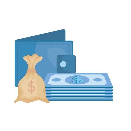 bills money dollars with wallet and sack vector illustration design