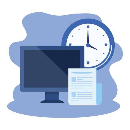 desktop computer with time clock vector illustration design