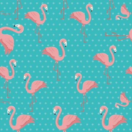 background of flamingos pink animals exotic vector illustration design Ilustracja