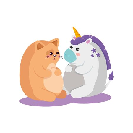 Unicorn and cat cartoon design, Magic fantasy fairytale childhood and animal theme Vector illustration Çizim