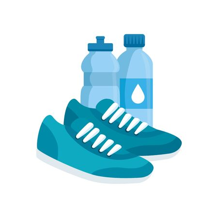 bottles water with shoes of sport vector illustration design Ilustração