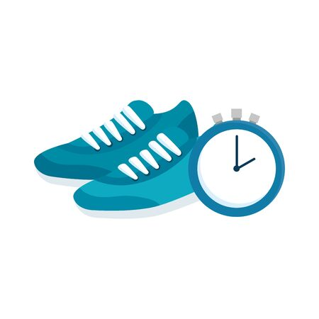 shoes of sport and chronometer time vector illustration design 向量圖像