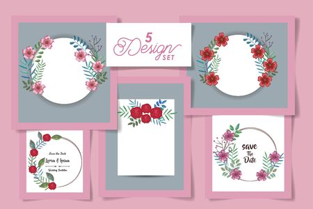 five designs of cards with flowers and leaves naturals vector illustration design  イラスト・ベクター素材