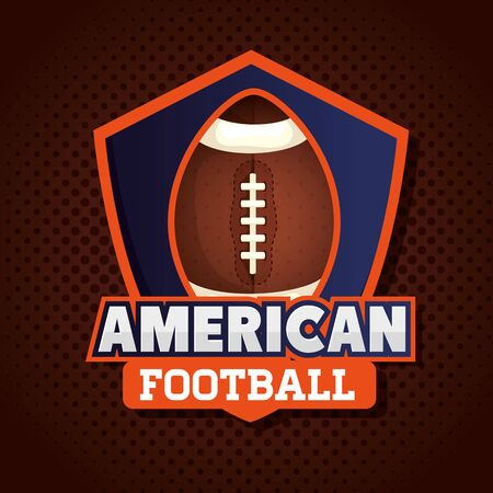 poster of american football with ball in shield vector illustration design 일러스트