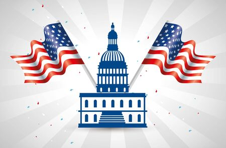 Usa flags and capitol design, United states america independence nation us country and national theme Vector illustration
