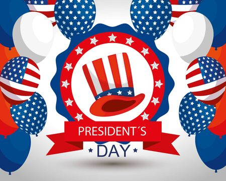 Balloons and hat design, Usa happy presidents day united states america independence nation us country and national theme Vector illustration