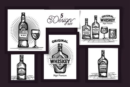 five designs drawing of bottles whiskey and cups glass vector illustration design