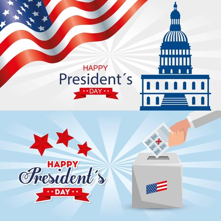 Capitol and vote box design, Usa happy presidents day united states america independence nation us country and national theme Vector illustration  イラスト・ベクター素材