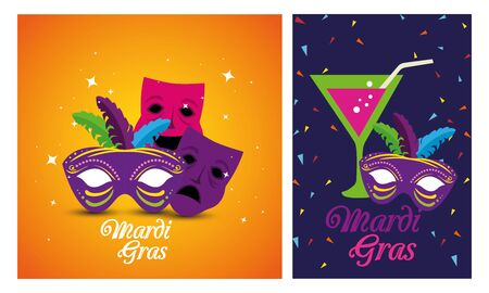 Mardi gras masks and cocktail design, Party carnival decoration celebration festival holiday fun new orleans and traditional theme Vector illustration