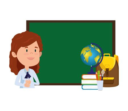 happy student girl with chalkboard and world map vector illustration design