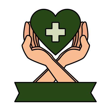 hands protecting medical heart with cross vector illustration design Ilustração