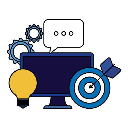 desktop computer with bulb and target vector illustration design
