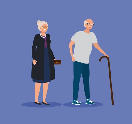 old woman and man couple with walking stick over purple background, vector illustration