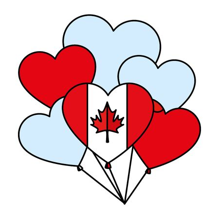 balloons helium with canadian flag and heart shape vector illustration design Ilustrace