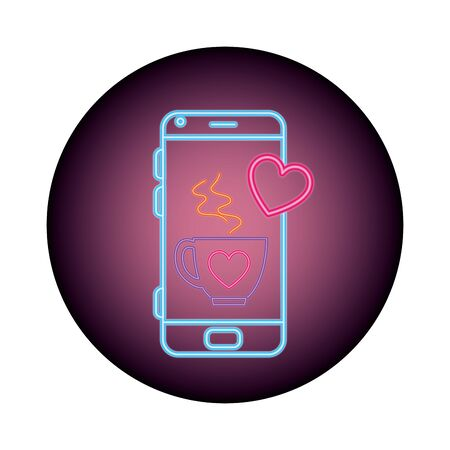 smartphone with speech bubble in neon light, valentines day vector illustration design 向量圖像