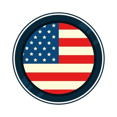 united states flag in frame circular vector illustration design Banque d'images - 139411091