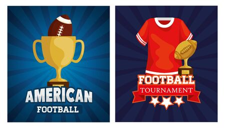 set poster of american football with decoration vector illustration design 일러스트