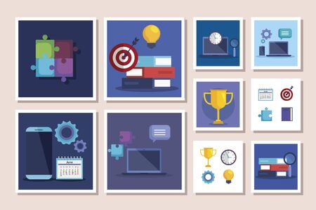 bundle of business set icons vector illustration design Ilustracja