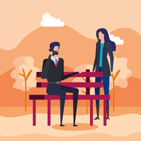 business couple calling with cellphone in the park chair vector illustration design Foto de archivo - 139419899