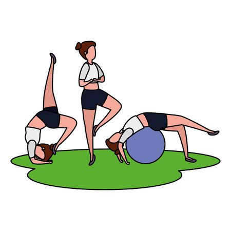girls group practicing pilates with balloon in grass vector illustration design