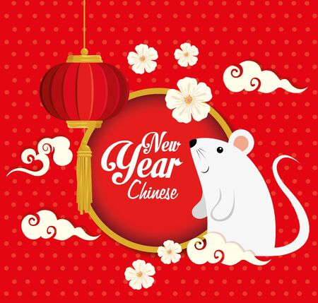 happy new year chinese 2020 with rats and decoration vector illustration design