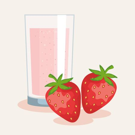 fresh strawberries fruits and juice nutrition to healthy food vector illustration