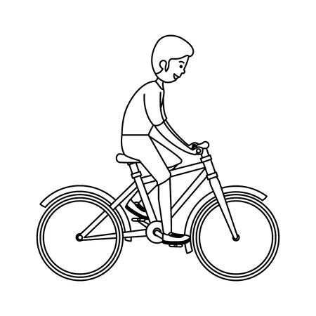 happy athletic boy ride bike vector illustration design Vettoriali